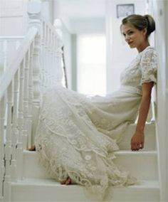Vintage wedding dress with sleeves.