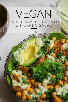 Tahini Sweet Potato Chickpea Salad with massaged Kale and a light, creamy, tangy dressing! Enjoy on its own as a main or even as a healthy side! #plantbased #vegansalad #healthy #vegan Vegan Chickpea Recipes, Vegan Potato Salads, Healthy Vegetarian Recipes, Best Vegan Salads, Vegan Sweet Potato Recipes, Healthy Summer Recipes, Healthy Salad Recipes, Vegan Side Dishes, Vegan Dinners