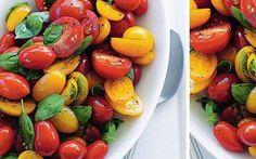 Tomates anciennes au four et spaghettis