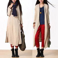 Loose Fitting Long Linen Maxi Dress - Women Dress - Long Sleeve Dress for Women