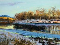 Peter Fiore  Pale Moon, Winter oil/linen, 12x16