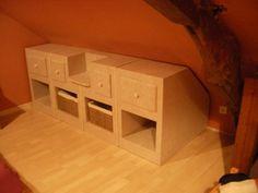 SG Mobilier Carton, rangements sous pente   www.mobilier-carton-sur-mesure.com …