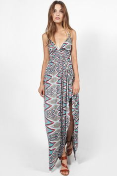 MISA EVER PRINTED HALTER MAXI DRESS
