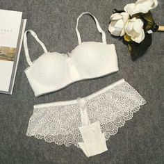 ed2b9c5f1b Sexy push up romantic lace wireless cup young girl bra set white tube top  design underwear thin women s bra and panties   Detailed information can be  found ...