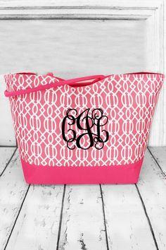 Pink Lattice Large Shoulder Tote #wholesaleaccessorymarket #monogram #beachtote #beachbag Beach Weather, Spring Break, Monogram, Tote Bag, Wallet, Shoulder, Pink, Bags, Boutique