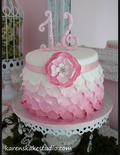 rose petal cake. Love the number