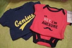 Baby Clothes, 2 Body Suits, Awesome Newborn & Genius 3 Months,NWT's  #Carters