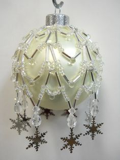 "PATTERN ONLY Beaded Christmas Ornament Cover Holiday Original "" Charmed Snow Flake"" FREE Shipping"