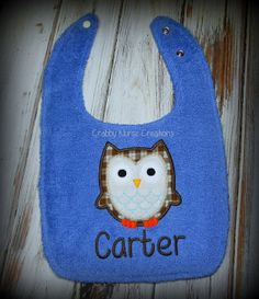 Owl BibFree Personalization by CrabbyNurseCreations on Etsy, $11.00