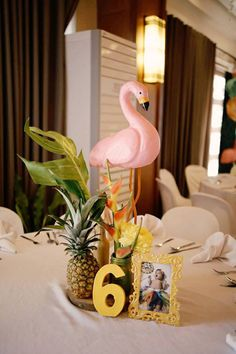 Flamingo Table Centerpiece from a Tropical Flamingo Birthday Party on Kara's Party Ideas | KarasPartyIdeas.com (4) First Birthday Centerpieces, Party Table Centerpieces, Birthday Party Tables, Flamingo Baby Shower, Flamingo Party, Flamingo Birthday, Fiesta Retro, Welcome Baby Party, Bbq Party Decorations