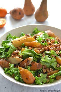 Autumn Pear Salad with Pecans + Golden Raisins | wholeandheavenlyoven.com