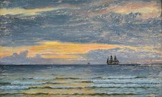 "www.Antikvitet.net - ""Hirtshals, solnedgang over havet"" Oliemaleri på lærred."