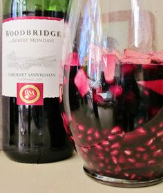 Holiday Sangria ~ pomegranate,  fresh cranberries, pear, green apple, red wine (I prefer Cabernet or Red Zinfandel), 3 cups ginger ale, 1/2 teaspoon cinnamon, Dash allspice