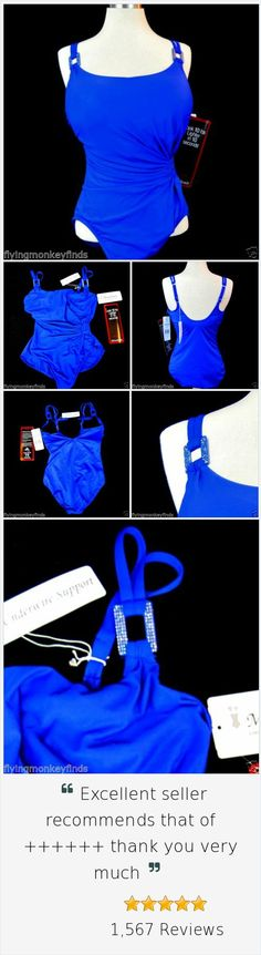 Miraclesuit Swimsuit Lisa Jane 12DD Royal Blue Under Wire Tummy Control Bathing