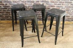 TOLIX STYLE STOOL IN BLACK