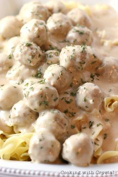 Easy Swedish Meatballs Recipe Over Egg Noodles on MyRecipeMagic.com