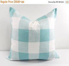 SALE Blue Pillow. Buffalo Check Pillow. Decorative Pillow.