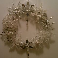 Christmas ornament wreath......wire wreath form with crystal ornaments hot glued into place! Beautiful