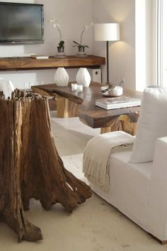 ahhh! ask anyone who knows me, I die for massive blocks of wood and white furniture. so perfect