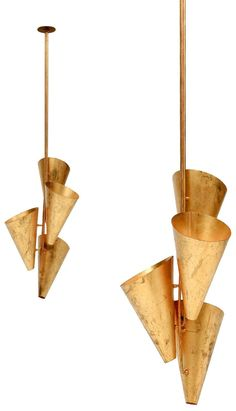 Anonymous, Perforated and Tubular Brass Ceiling Lights, c1950.