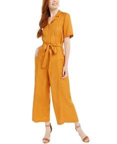 French Connection Enzo Belted Wide-leg Jumpsuit In Golden Oak French Connection Style, Golden Oak, Baby Boy Gifts, Mens Sale, Belt Tying, Jumpsuits For Women, Women's Leggings, World Of Fashion, Wide Leg