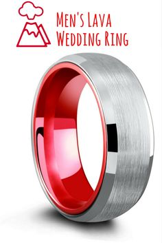 So cool! Lava red tungsten wedding ring with an airplane grade aluminum interior making it half the weight of most tungsten wedding rings.