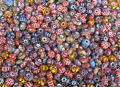 8x5mm Chevron Color Mixed Glass Rondel Beads 20 Grams (AS29) by beadsandbabble on Etsy