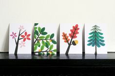 I love these tree postcards for Our Workshop. Would be so cute framed together on a wall.