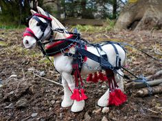 Schleich shire with tack.