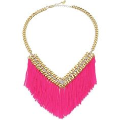 ABS by Allen Schwartz Jewelry Fringed Chain Bib Necklace ($88) ❤ liked on Polyvore featuring jewelry, necklaces, accessories, pink, curb link chain necklace, chain fringe necklace, chunky necklace, pink bib necklace and fringe bib necklace