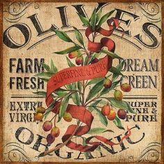 Burlap Farm Olives by Geoff Allen Vintage Labels, Vintage Cards, Vintage Images, Decoupage Vintage, Decoupage Paper, Propaganda E Marketing, Retro, Garden Labels, Decoupage Printables