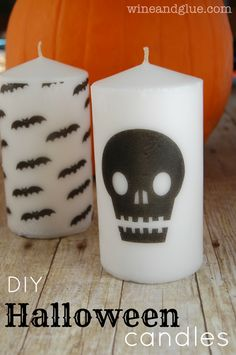 DIY Halloween Candles | Tissue paper, a cheap candle, a printer and a hair dryer for this easy diy! via www.wineandglue.com