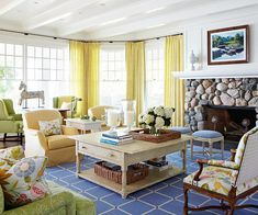 Let the Sun Shine In. Love this comfy living room.