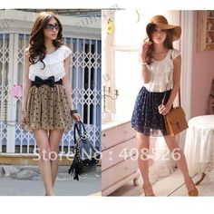 2012 Women's Fashion Trendy Korean Lace Chiffon Mini Dress Outfit without blet 2 colors free shipping 3803 $9.30