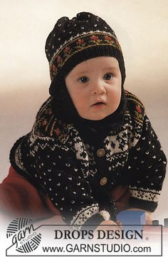 Funny Frederic - DROPS jacket in Norwegian pattern, trousers, socks and hat. - Free pattern by DROPS Design Knitting For Kids, Baby Knitting Patterns, Baby Patterns, Free Knitting, Knitting Projects, Baby Cardigan, Drops Design, Style Norvégien, Drops Baby