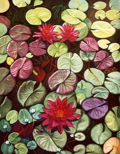 Red Lotus Flower Water Lilies Giclee on canvas by RuthSoller, $150.00