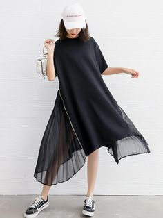 Sku CY Material Chiffon , Dacron Style Loose , Plus Size Feature Split joint Occasion Casual Seasons Summer Type Maxi Dresses Color BLACK Size FREE SIZE Size chart: Please consult the size chart we provide for this item's measurements to help you de Long Shirt Dress, Blouse Dress, Women's Fashion Dresses, Casual Dresses, Summer Dresses, Maxi Dresses, Chiffon Dresses, Moda Outfits, Short Sleeve Dresses