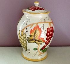 "Biscotti or Cookie Jar with Green and Yellow Grapes and Leaves 12""Tall"