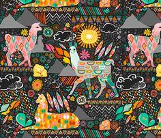 Llamas on Grey (Large) fabric by creativetaylor on Spoonflower - custom fabric