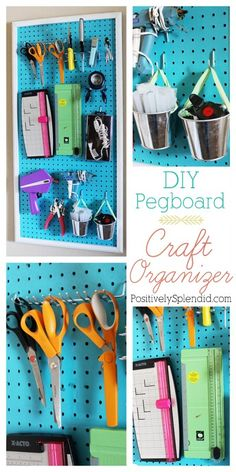 Pegboard Craft Room Organizer DIY Pegboard Craft Organizer - The ULTIMATE way to organize a creative space!DIY Pegboard Craft Organizer - The ULTIMATE way to organize a creative space! Pegboard Craft Room, Sewing Room Organization, Craft Room Storage, Kitchen Pegboard, Craft Rooms, Ikea Pegboard, Painted Pegboard, Space Crafts, Home Crafts