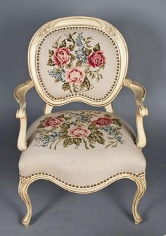French Carved Wood & Needlepoint Chair
