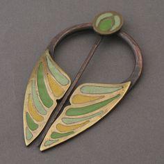 Totally gorgeous Butterfly Penannular Brooch ~ copper and enamel ~ Michele Lukowski Enamel Jewelry, Jewelry Art, Antique Jewelry, Jewelry Design, Wearable Art, Metal Working, Jewelery, Jewelry Making, Pendants
