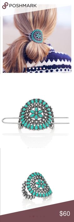 """C+I Turquoise Ponytail Holder semi-precious turquoise antique silver-plated 2"""" approx. width + height, 4.0"""" approx. length U-pin  Worn once. My hair is too thick and I am not good with hair accessories!  Gorgeous piece. Chloe + Isabel Accessories Hair Accessories"""