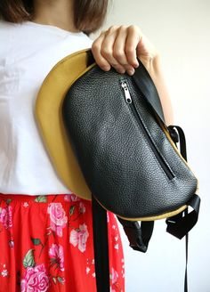 1f773e2cd86 Yellow and black leather bag Belt bag Funny pack Woman s leather bag Travel  bag Minimalism Hip