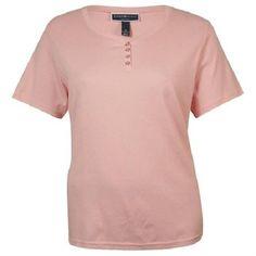 Womens Plus Size 2X NWT Karen Scott Short-Sleeve Henley Button Top Shirt Pink #KarenScott #Blouse #Casual