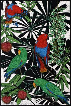 Rachel Newling (Australian contemporary artist and printmaker) - Eclectus Parrots - Hand coloured linocut on handmade Japanese paper Australian Parrots, Australian Artists, Linocut Prints, Art Prints, Illustrations, Illustration Art, Unique Drawings, Wildlife Art, Bird Art