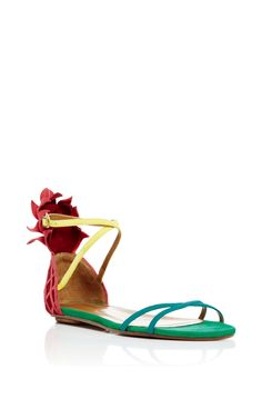 Suede Pineapple Back Sandals  by AQUAZZURA Now Available on Moda Operandi
