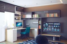 Jugendzimmer Gestaltung für einen Jungen - dominierende Farbe Grau