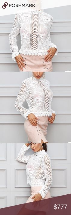 Coming Soon! Long Sleeve White Lace Top Delicate white lace top with long sleeves. Would look great with a high waisted skirt. $34 when they arrive. Tops Blouses