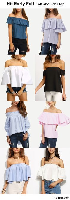 Hit early fall and grab last summer. Off the shoulder top, ruffle blouse. adorable